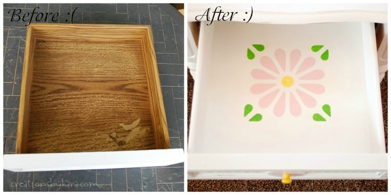 White Nightstand with Stenciled Drawer