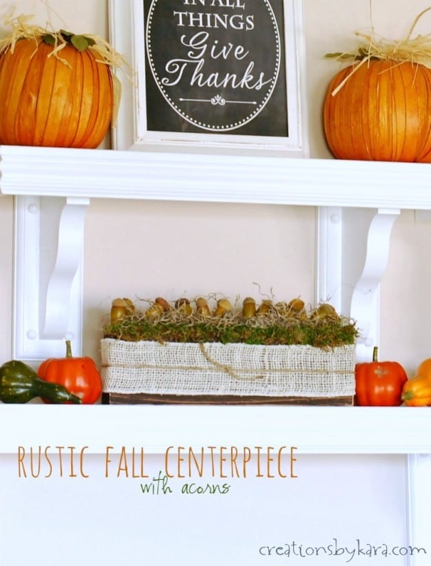 Simple Fall Decor Idea- rustic fall centerpiece with acorns