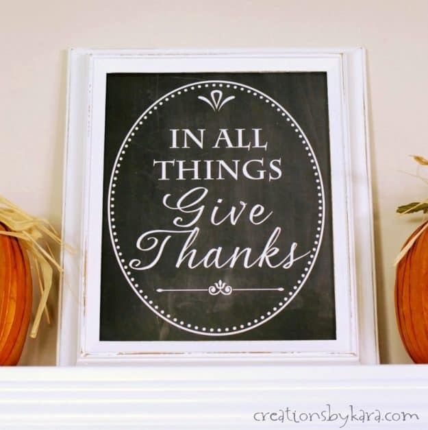 Add some farmhouse flair to your living space with this free Give Thanks Chalkboard printable.