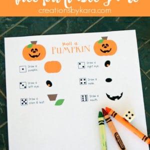 free printable halloween game - roll a pumpkin