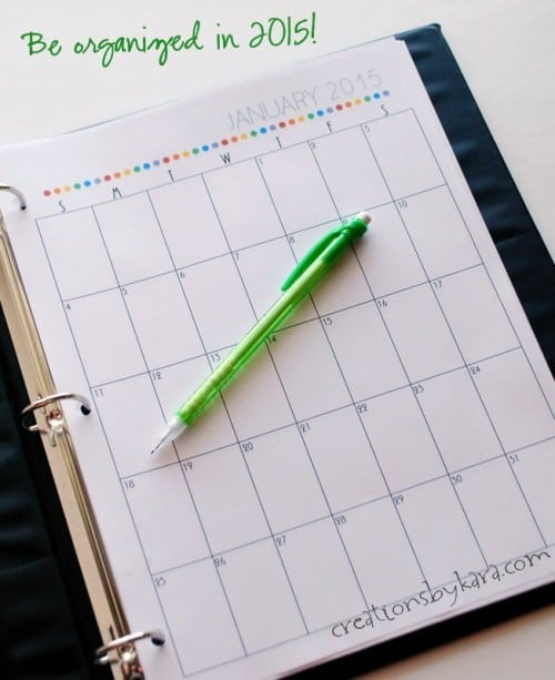 Use this printable calendar to get organized in 2015!