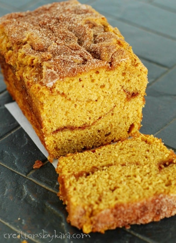 sliced loaf of Pumpkin Cinnamon Swirl Bread