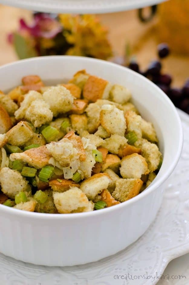 homemade stuffing recipe in a white casserole dish