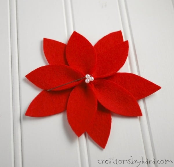 Beautiful Yarn Poinsettia Wreath