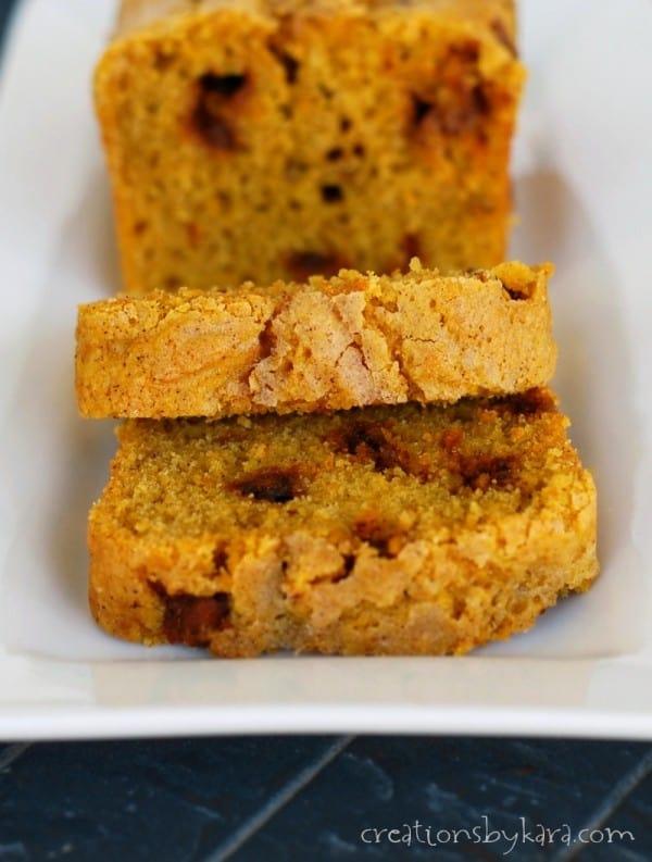 Recipe for Pumpkin Cinnamon Chip Bread- a perfect fall treat!