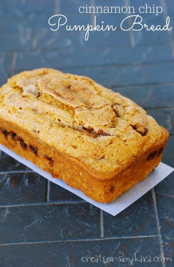 Cinnamon Chip Pumpkin Bread Recipe- a family favorite!