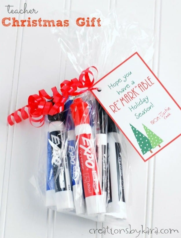 bag of markers with christmas gift tag