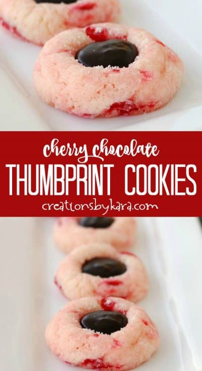 cherry chocolate thumbprint cookies recipe collage