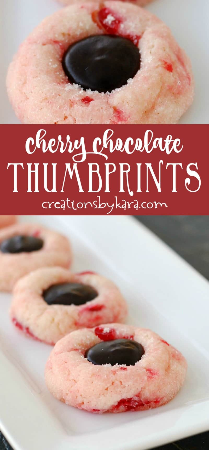 Cherry Chocolate Thumbprint Cookies - a tender shortbread cookie loaded with juicy cherries, filled with a puddle of fudge. #christmascookie #holidaybaking #cookies