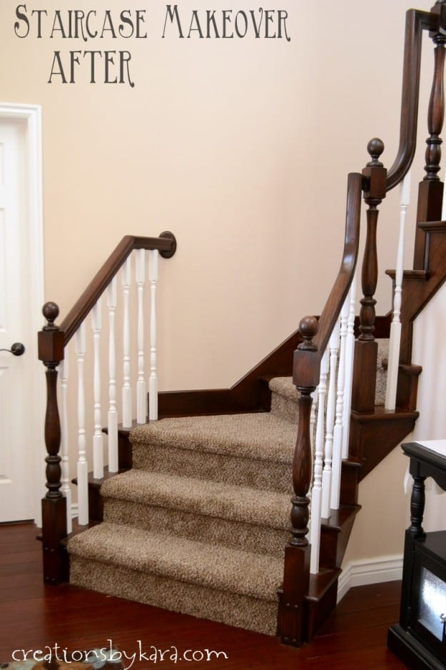 How to transform a staircase banister with stain and paint.