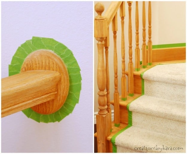 Staircase Makeover- taping off