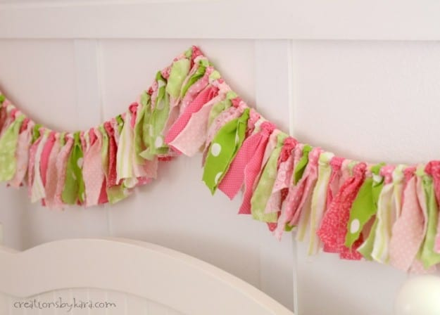 Easy ripped fabric bunting