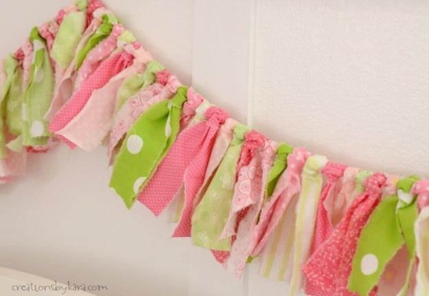 Whip up one of these cute torn fabric buntings in an afternoon!