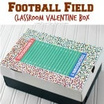 Football Field Classroom Valentine Box- includes free printable!