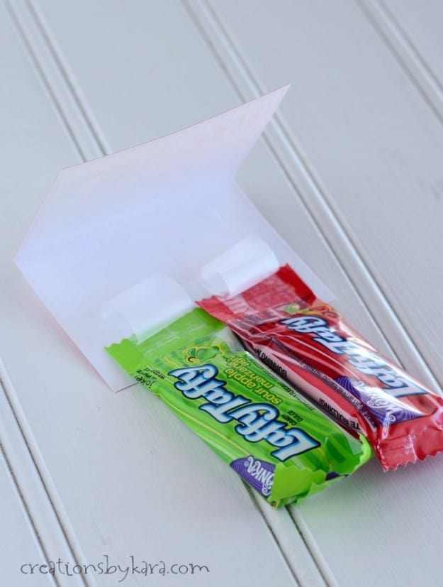 folding card with laffy taffy candy taped inside
