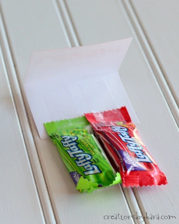 Laffy Taffy taped to a classroom valentine card