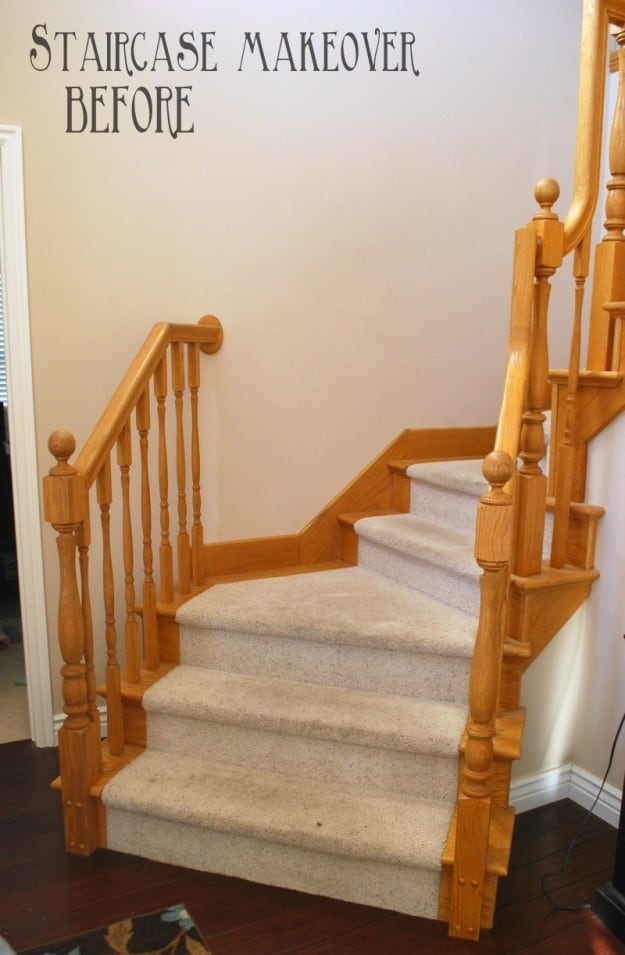 Diy staircase makeover with stain and paint for Diy staircase makeover