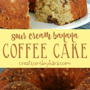 chocolate chip banana coffee cake recipe collage