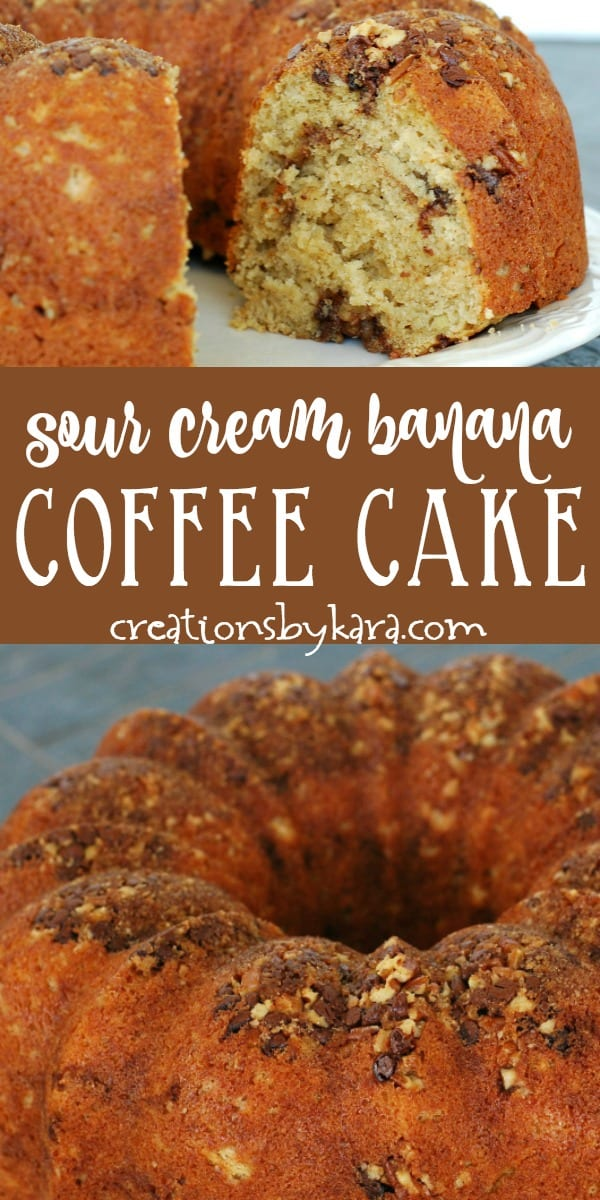 Sour cream banana coffee cake recipe collage
