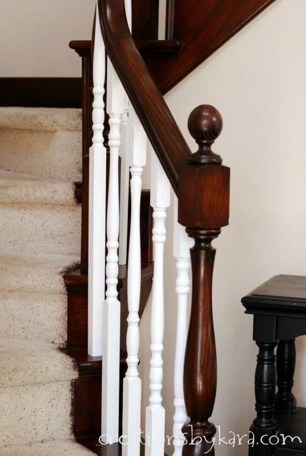 Oak Banister Makeover with Java stain
