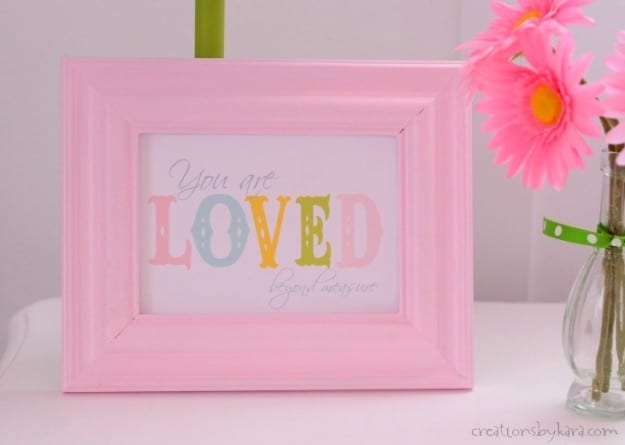 This cute free printable is perfect for a little girls room. Would make a great baby shower gift as well!