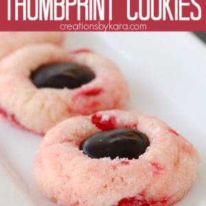 cherry chocolate thumbprint cookies pinterest pin
