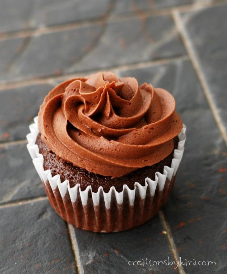 Tender chocolate cupcakes with a creamy center, topped with chocolate buttercream. You will love them!