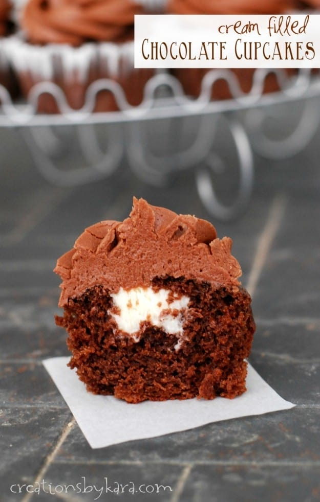 Cream Filled Chocolate Cupcakes- because life is better when it's filled with surprises!