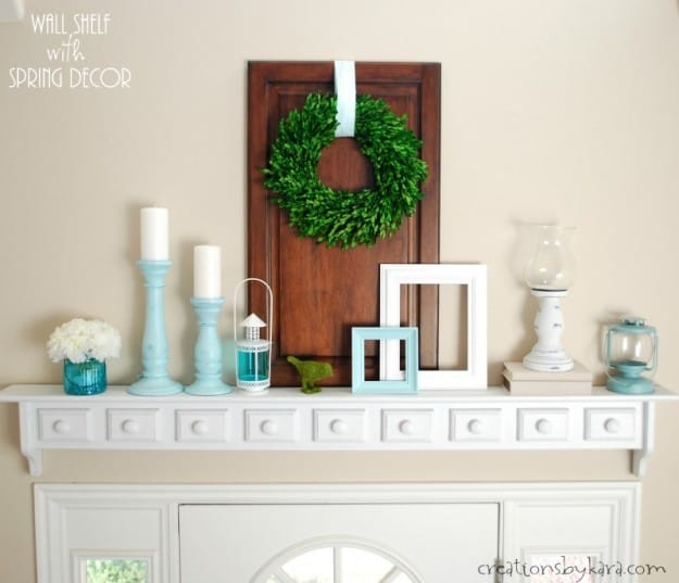 Wall Shelf with DIY Spring Decor
