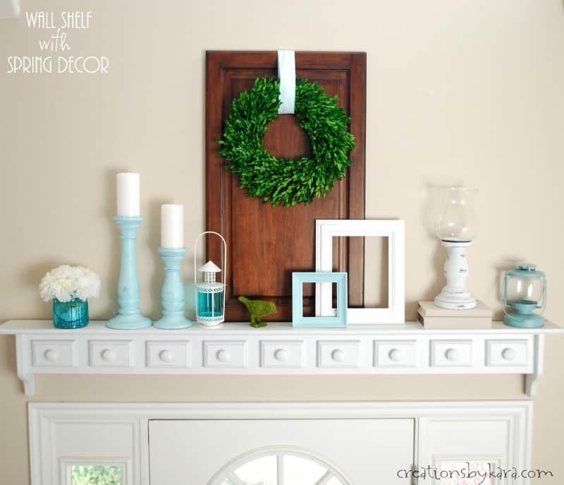 Wall shelf spring decor