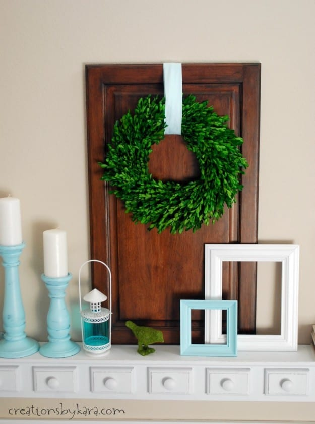 Aqua and White Shelf Decor