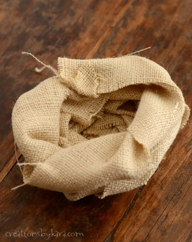 Burlap Birds Nest for Spring Wreath