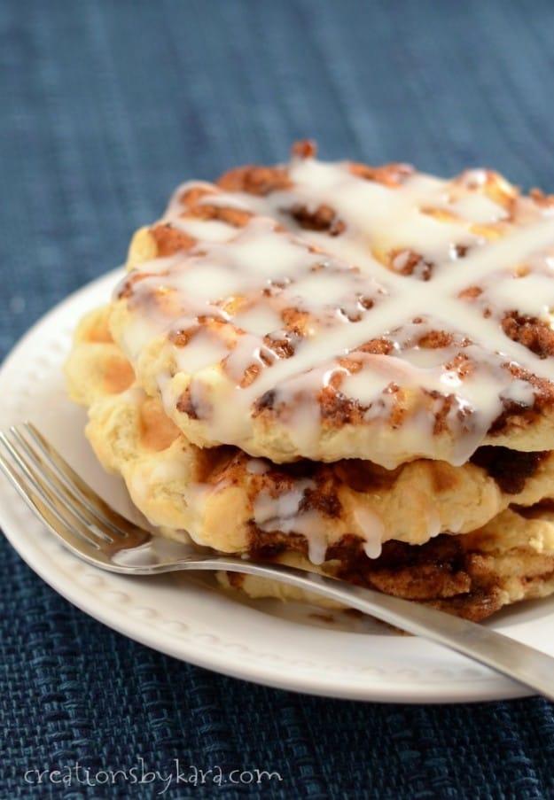 Easy 30 minute Cinnamon Roll Waffles