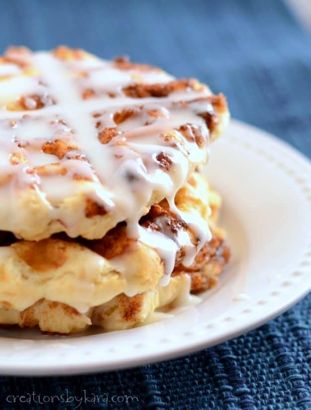 No time to make cinnamon rolls? These scrumptious Cinnamon Roll Waffles are made from scratch, but ready in under 30 minutes!