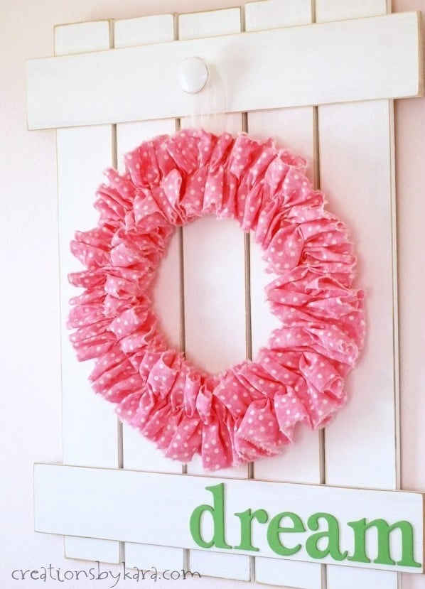 You can make one of these easy ruffle wreaths in about 30 minutes!