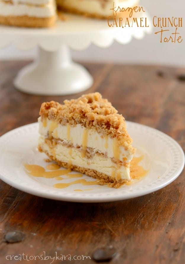 Layers of creamy filling, butter brickle, and caramel. This decadent Frozen Caramel Torte is sure to please!