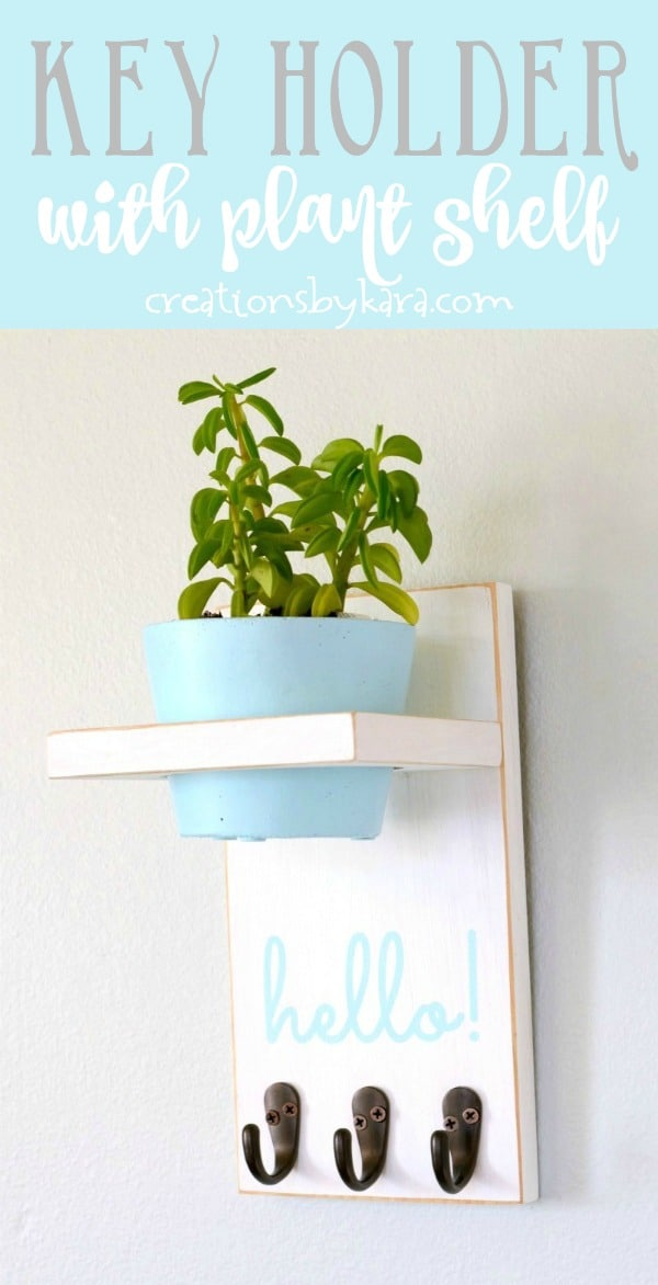 key holder with plant shelf tutorial collage