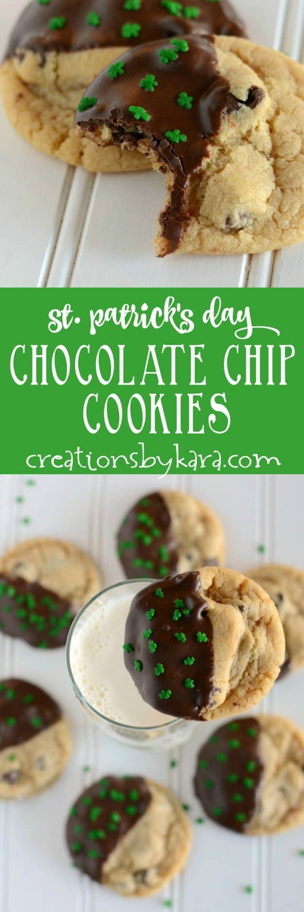 With cute shamrock sprinkles, these dipped chocolate chip cookies are a perfect St. Patricks Day treat!