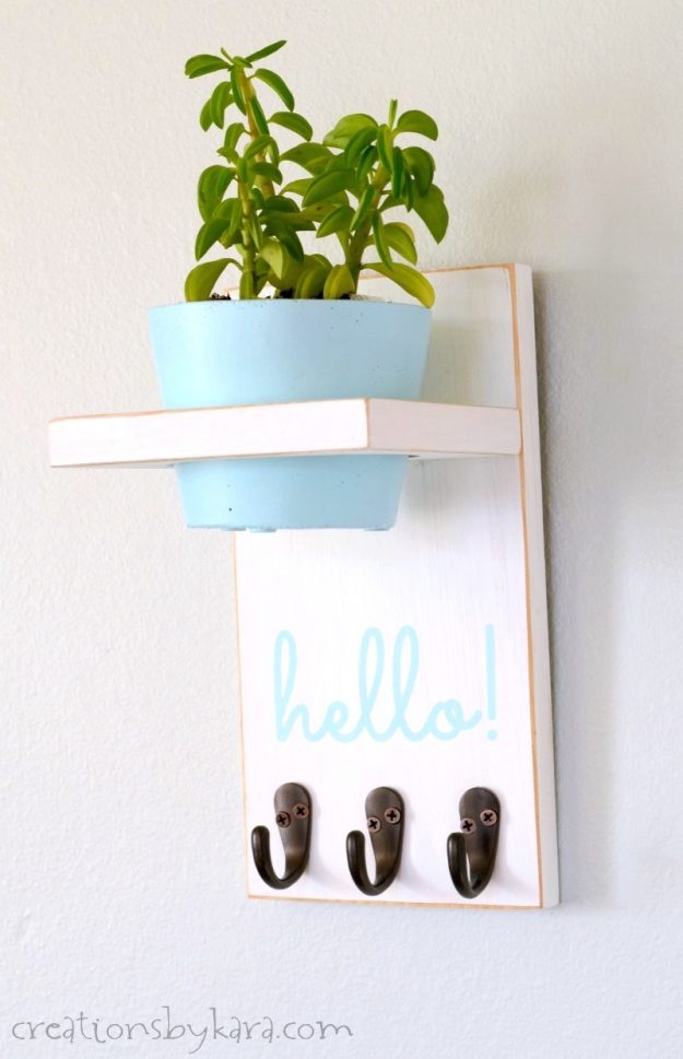 farmhouse key holder with plant shelf