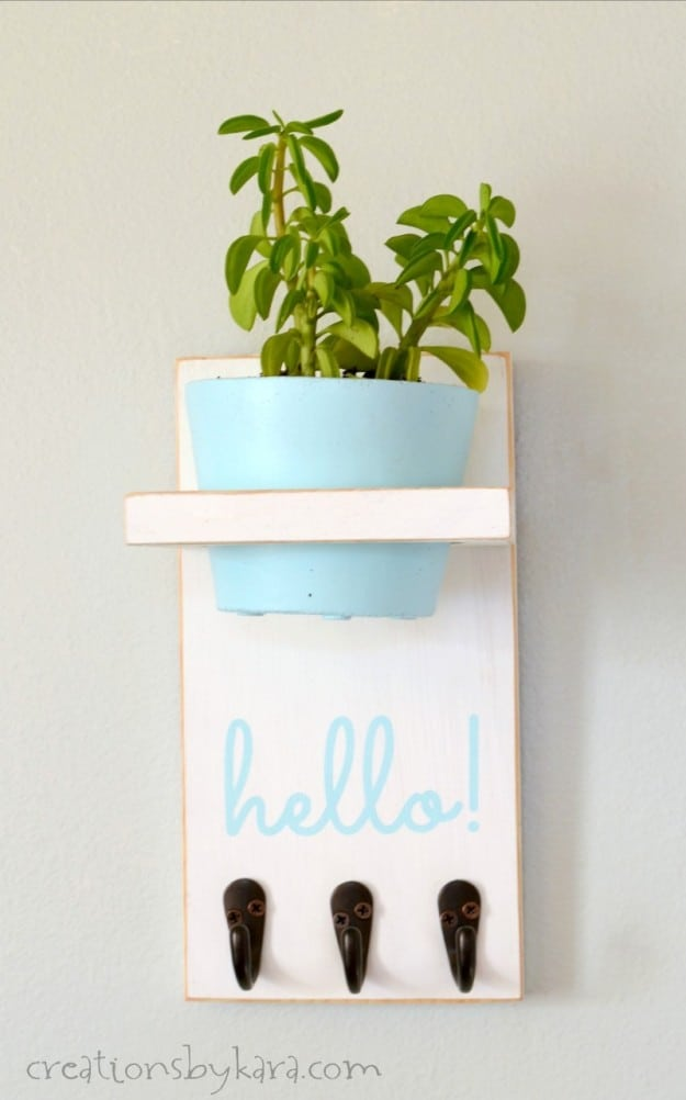 Wall Mounted Key Holder with plant shelf