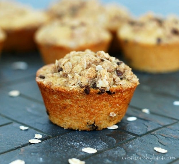 Recipe for chocolate chip oatmeal muffins that will knock your socks off!
