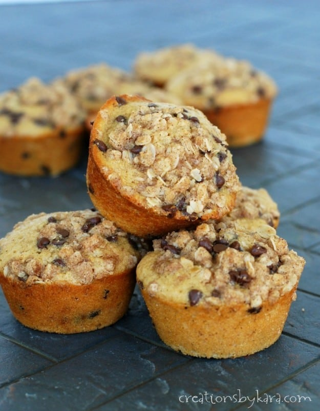 The toasted oatmeal gives these chocolate chip muffins a nutty flavor that is just out of this world!