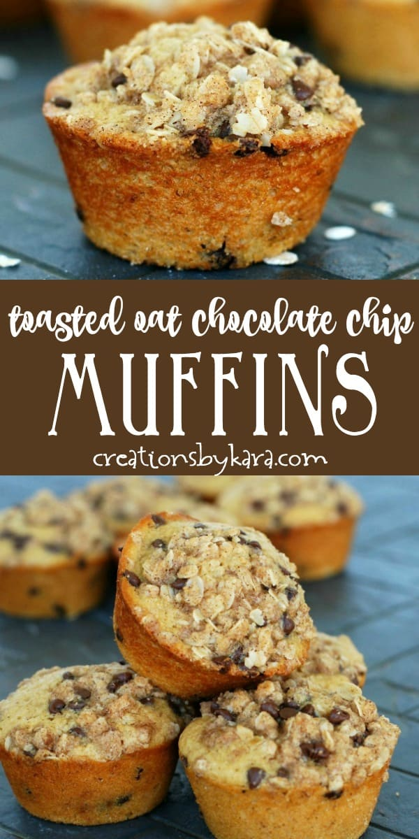 toasted oatmeal chocolate chip muffins recipe collage