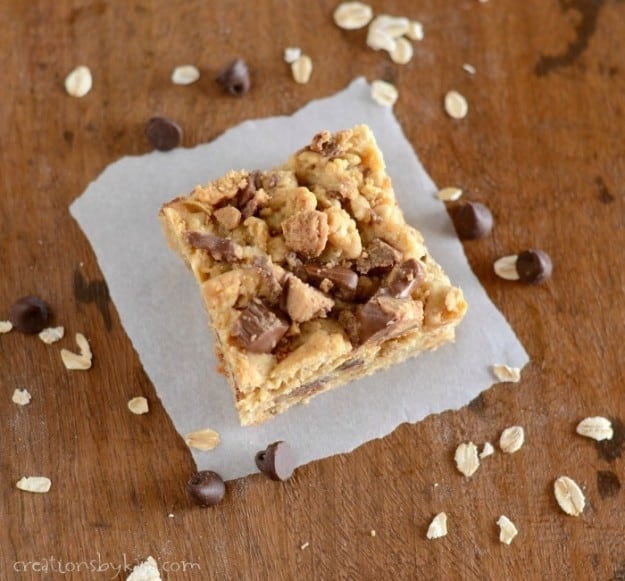 Reeses Peanut Butter Oatmeal Layer Bars