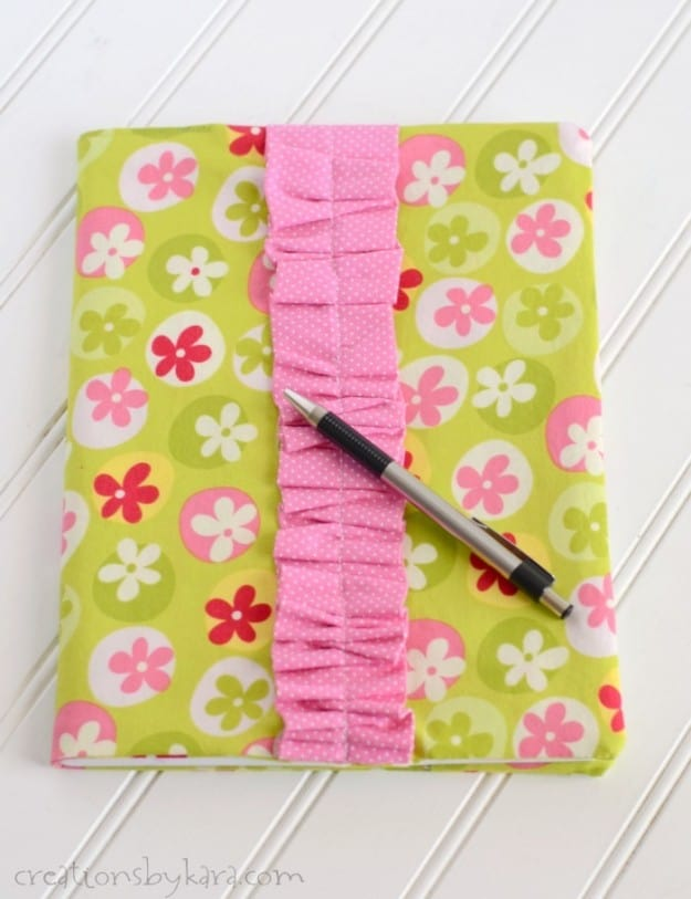 Ruffled Fabric Covered Notebook Tutorial