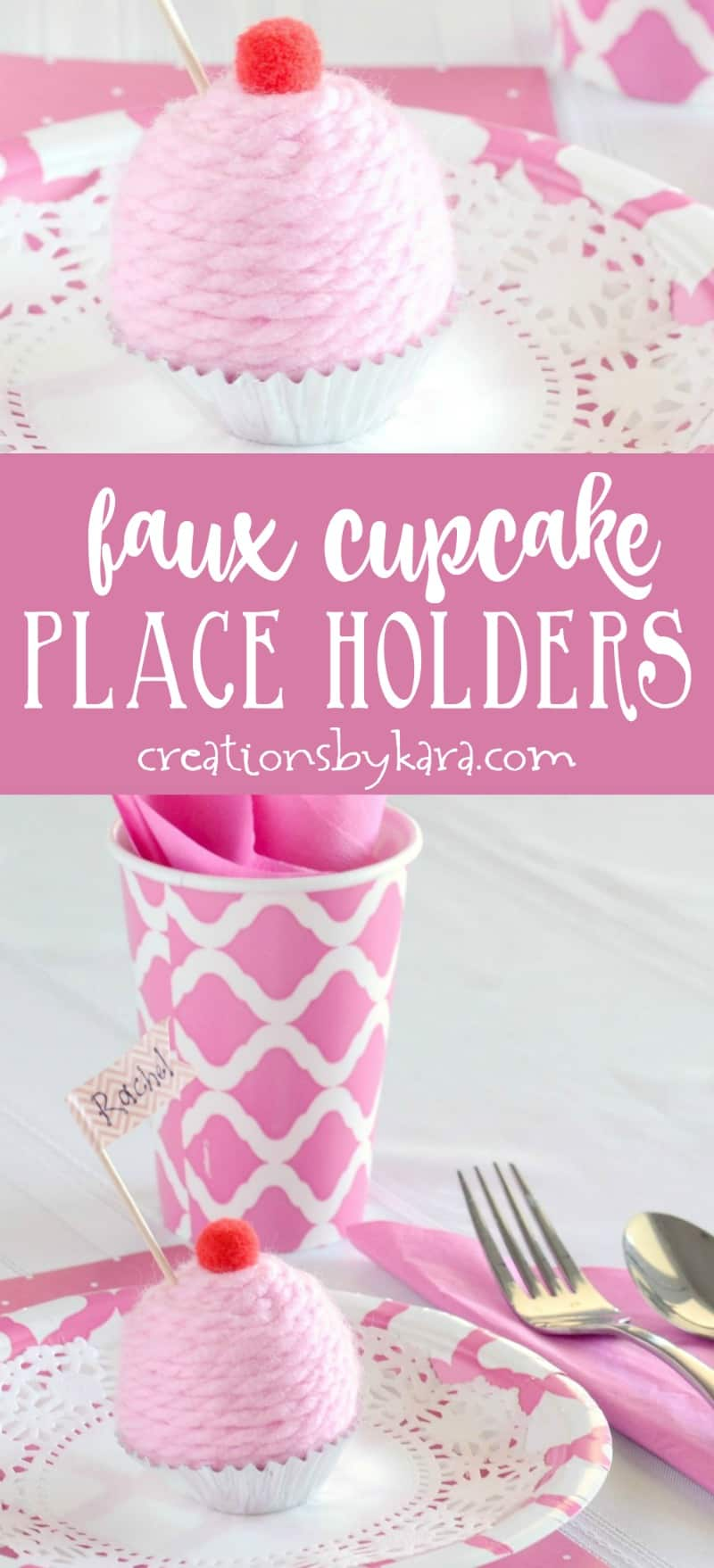How to make Faux Mini Cupcake Place Holders - these cute little place holders are perfect for birthday parties, tea parties, or baby showers. So fun to make! #placeholder #cupcake #easycraft