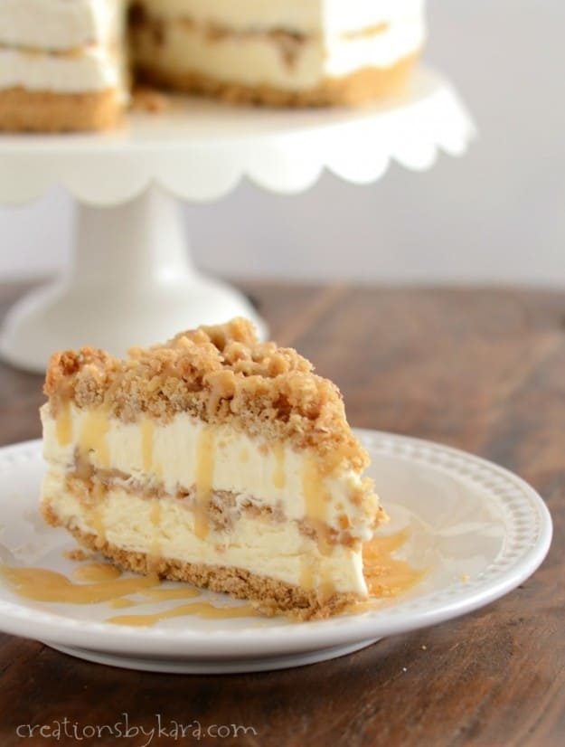 Frozen Caramel Crunch Torte Dessert Recipe | Creations by Kara - Impress your guests with this Caramel Crunch Dessert. It can be made ahead of time for fuss-free entertaining.