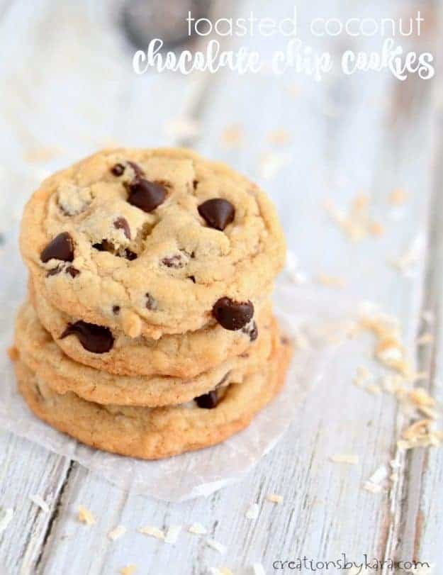 stack of toasted coconut chocolate chip cookies