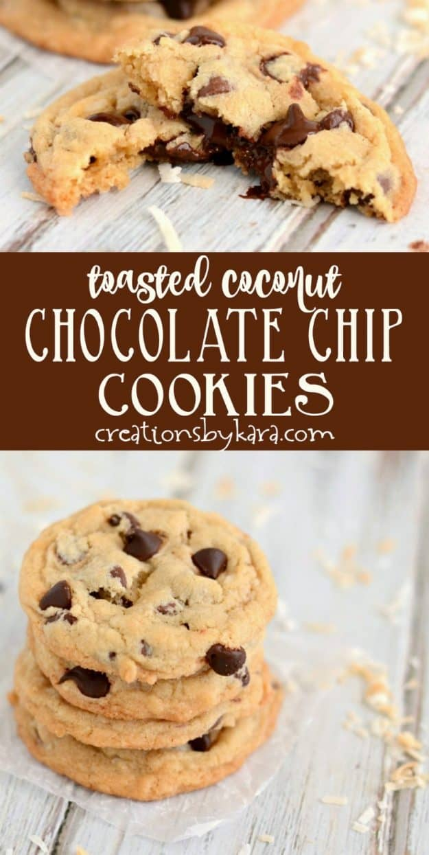 toasted coconut chocolate chip cookies recipe collage