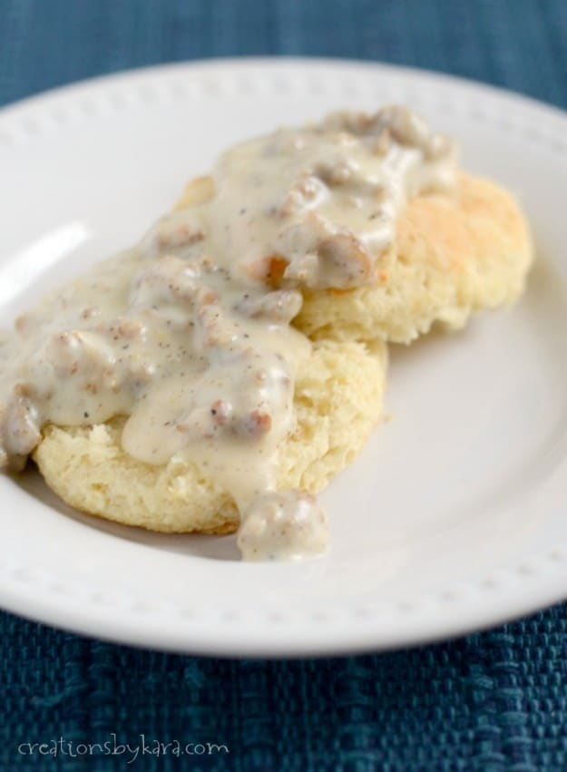 Sausage Biscuits and Gravy- a hearty breakfast recipe.